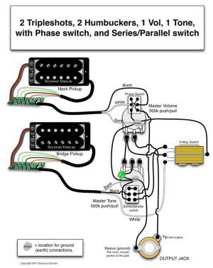 Seymour Duncan wiring diagram  2 Triple Shots, 2