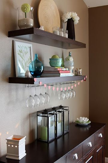 Floating Shelves above Buffet  Home  Pinterest  Shelf