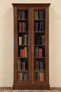 French Oak Vintage Tall Bookcase or Display Cabinet, Glass ...