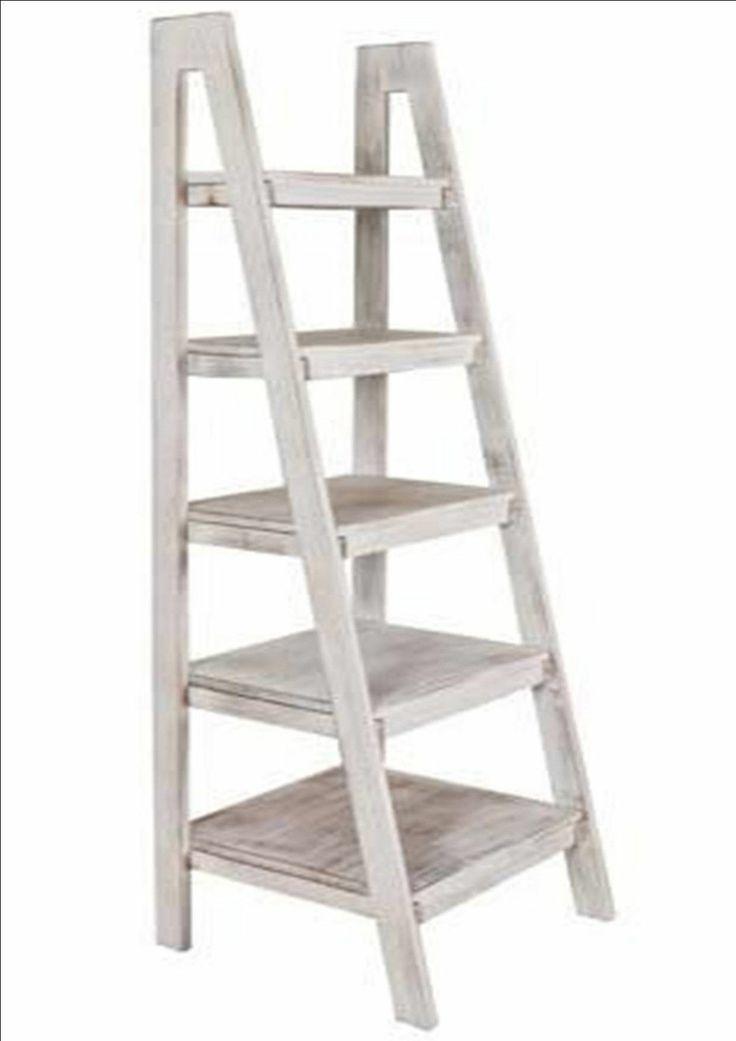 Portobello Rustic White Wash Wood Ladder Library Unit