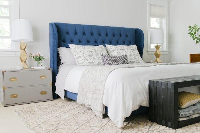 navy blue headboard bedroom  INTERIOR  bedroom