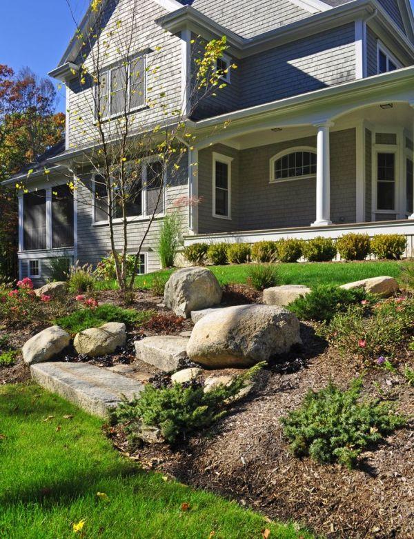 reused granite curb steps