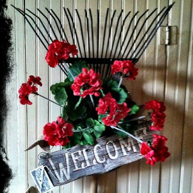 Welcome Sign With Flowers And Rake Cute Make This