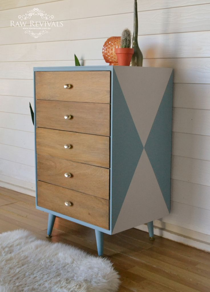 Original mid century chest of drawers Painted with a