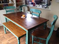 Teal table refinished