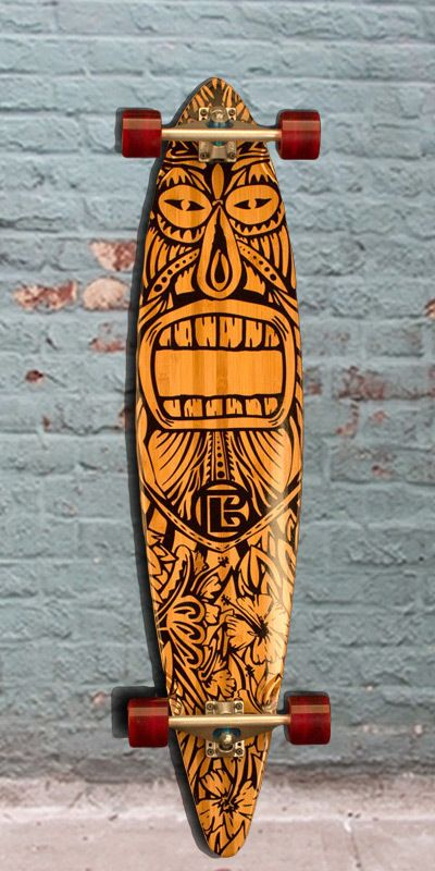 Bamboo Pintail Tiki Man 44 Longboard Complete  The ojays Tiki man and Training