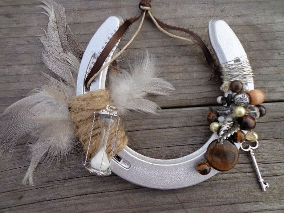 Feathers  Time Decorative Horseshoe  Western Home Decor  Western homes Rustic modern and
