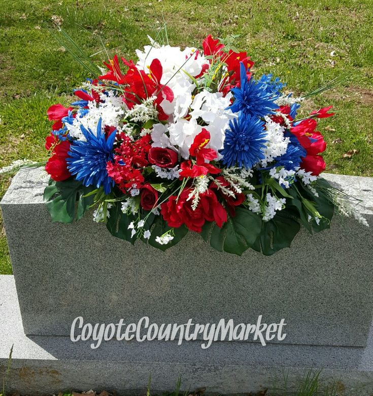 Cemetary Red White And Blue Memorial Headstone Saddle