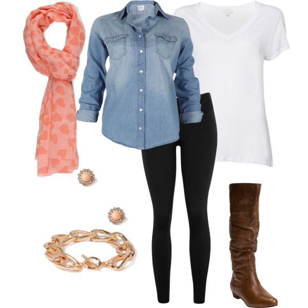Casual Valentines outfit denim and white tank with black leggings and festive pi