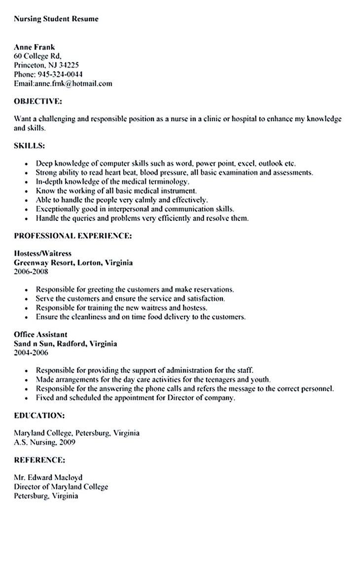 Sample Nursing Student Resume Nursing Student Resume Must
