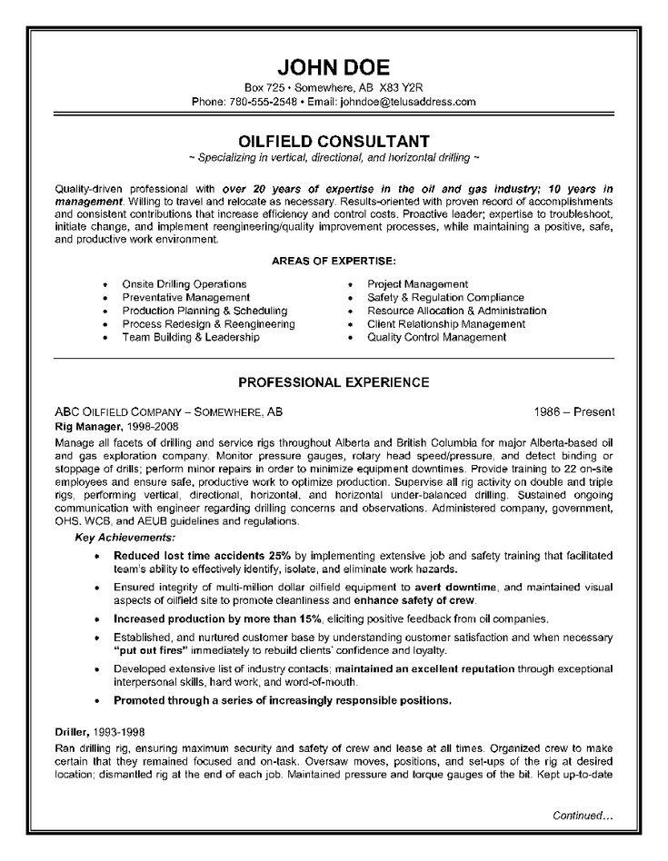 OilfieldConsultantResumeExamplePage1  Resume Writing