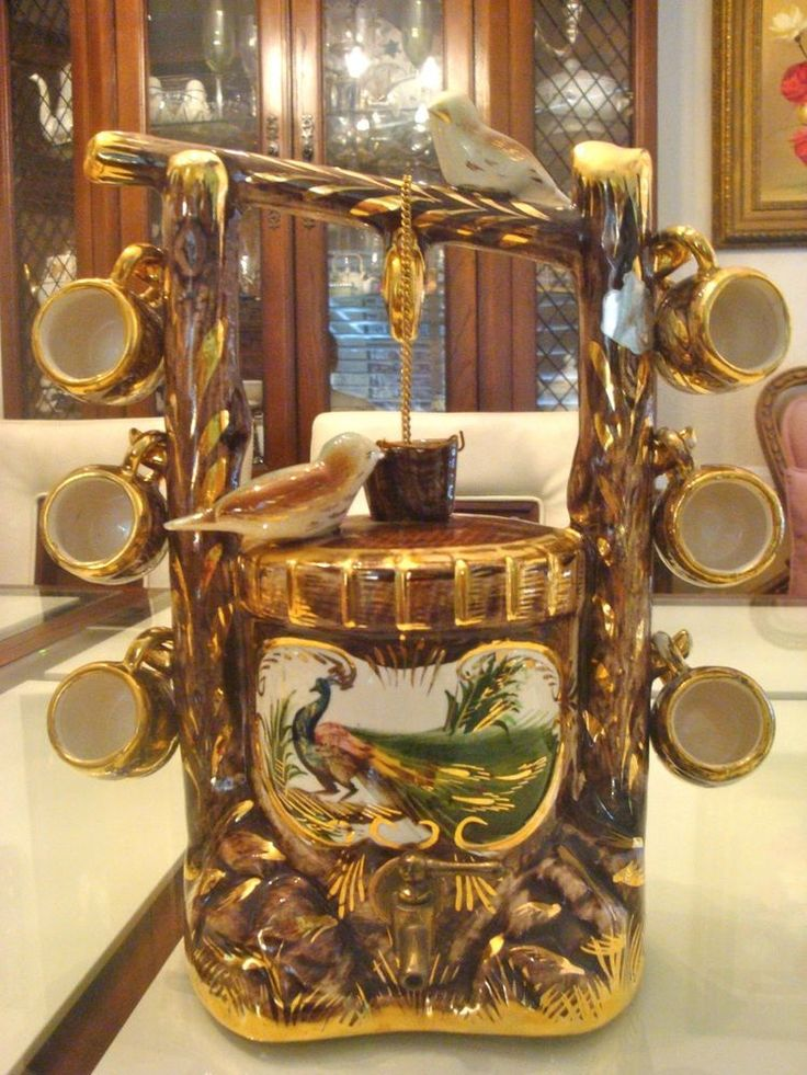ANTIQUE PORCELAIN FRENCH BELGIUM LIQUOR DISPENSER WISHING WELL W 6 CUPS  Henri Bequet Majolica