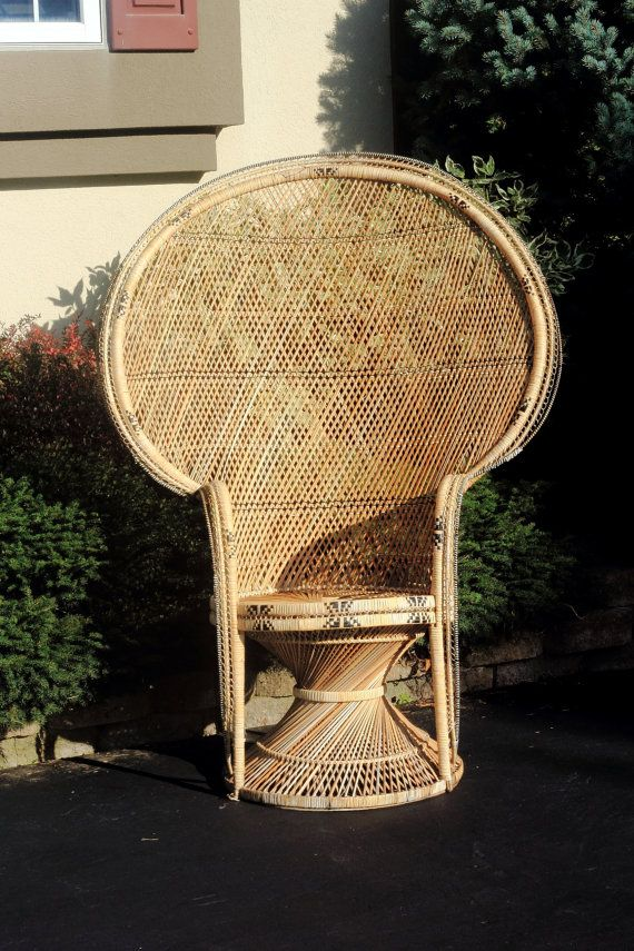 fan back wicker chair stool bar chairs antique peacock hollywood style | chair, peacocks and we