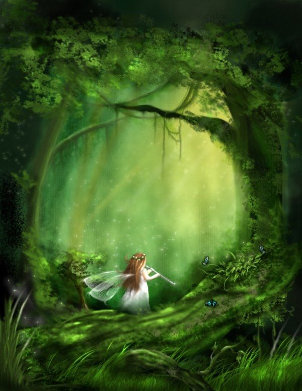 Fall Fairys Wallpapers Little Fairy Of The Forest Art Green Fantasy Forest Little