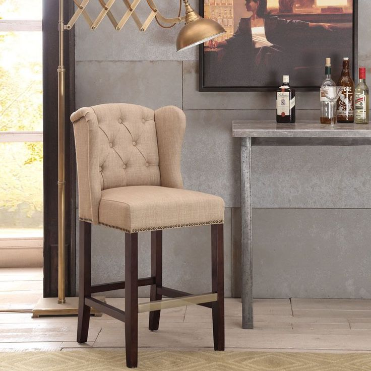 Margo Linen Fabric Tufted Wingback Counter Stool by I