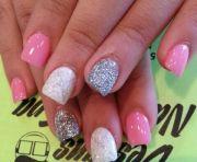 pink white and glitter powder nails