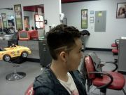high fade with lightning bolt design