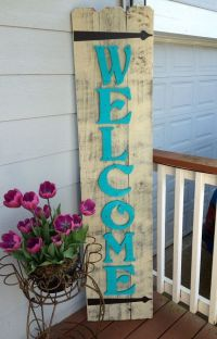 Front Porch Teal Wood Sign - Spring Decor - Front Porch ...