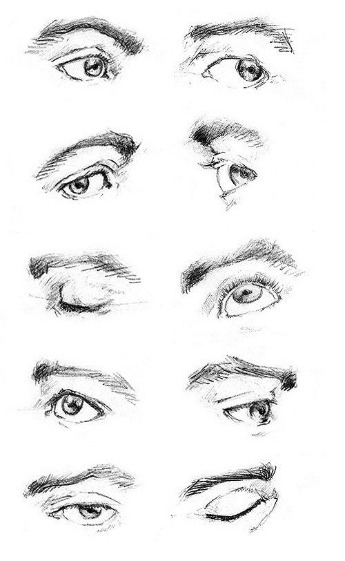 (Single) Eye sketching exercise. Found this in #DeviantART