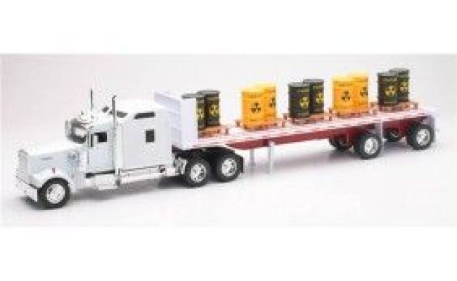 Kenworth Flatbed Tractor Trailer With Toxic Barrel Diecast