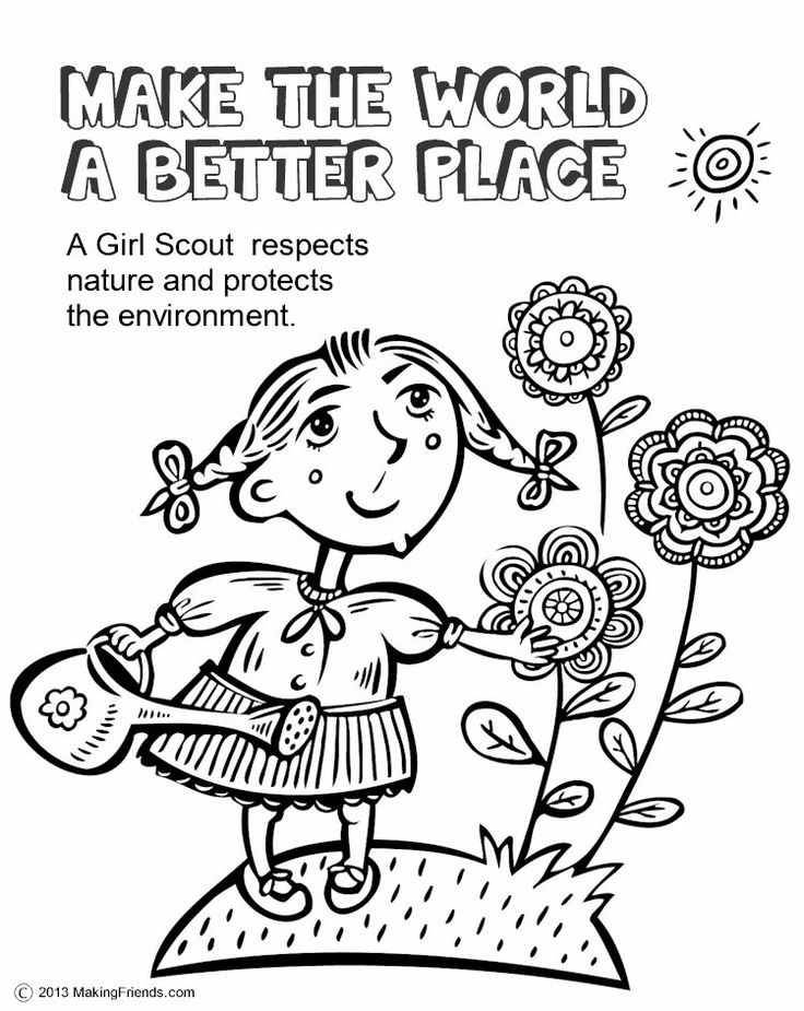 Girl Scouts Make the World a Better Place. This coloring