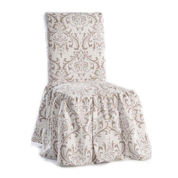 Damask Print Ruffled Dining Chair Slipcovers Set of 2 by