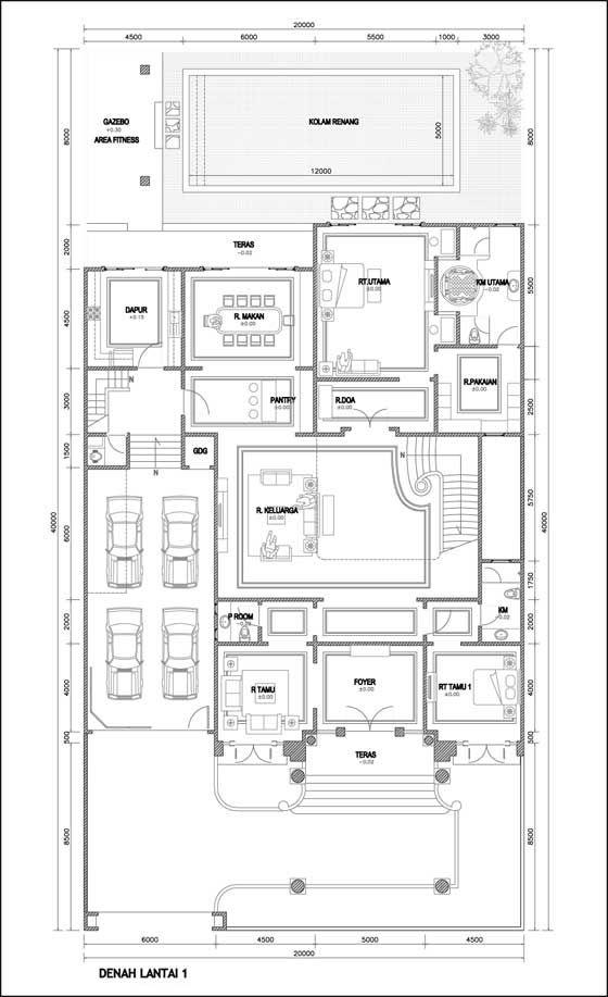 Contoh Denah Rumah Mewah 2 Lantai  Places to Visit
