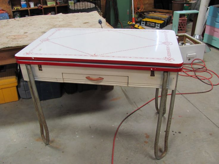 1950 antique dining table with chrome legs