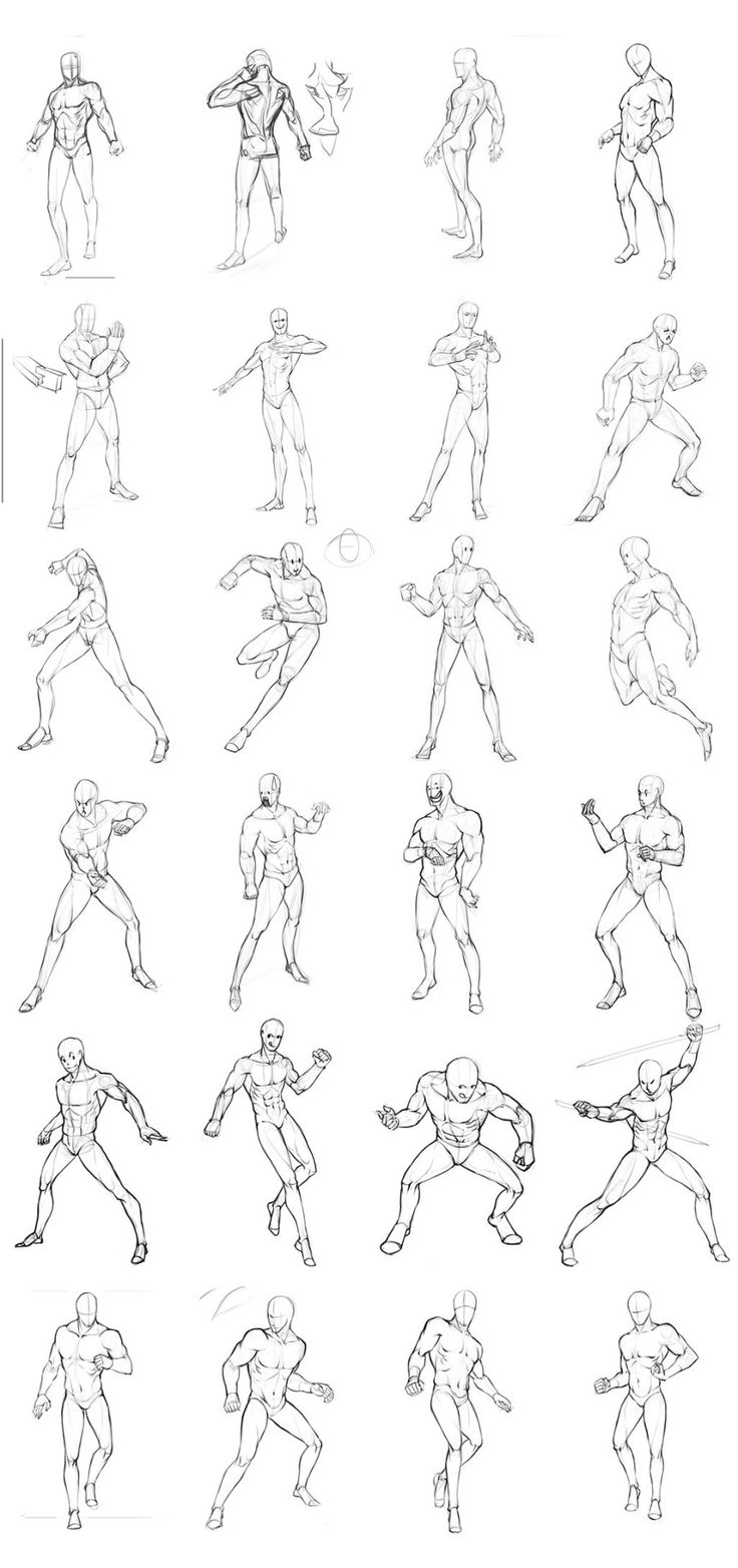 Non-Dynamic Male Pose Reference Row 1 Row 2 (Left), 3