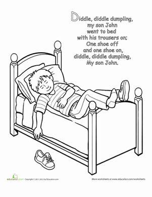 All Worksheets » Nursery Rhyme Worksheets Preschool