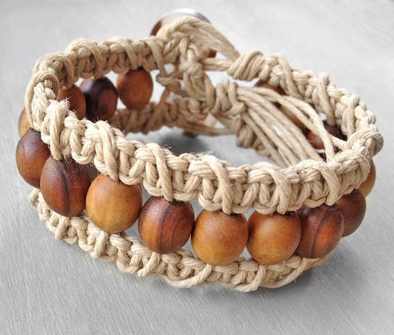 Hemp cuff bracelet, beaded woven macrame bracelet by OneUrbanTribe. $17.00. There's something very organic about this bracelet