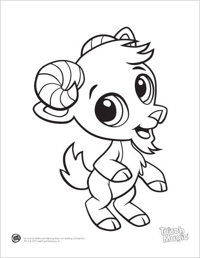 Learning Friends Goat baby animal coloring printable from