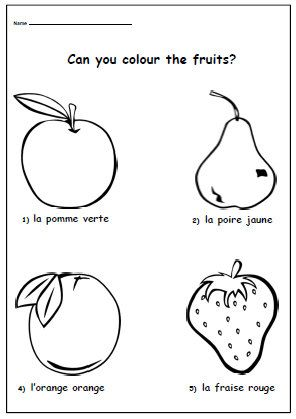 FRENCH Colouring PAGE,Learn French Colours With Fruits