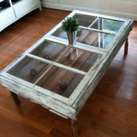 Coffee table made from old windows and old barn wood ...