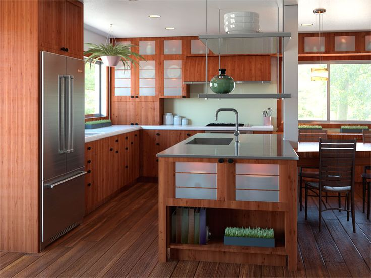 Rustic cherry cabinets. Zen/Asian themed kitchen