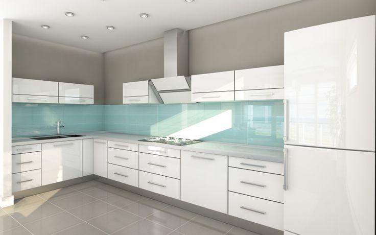 Contemporary Kitchen High Gloss Acrylic White Cabinets