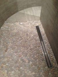 Pebble mosaic shower floor, linear drain, large- format ...