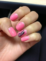 pink shellac nails with feather