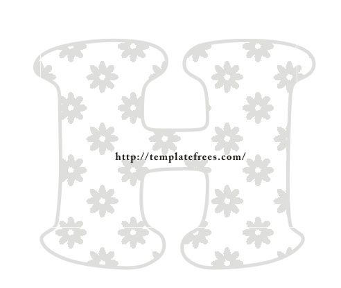 Large Bubble Stencil Letters H Alphabet Template with