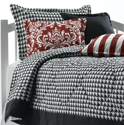 Black And White Houndstooth Comforter Set Includes Sham