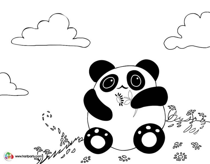 Kawaii Panda Coloring page for the youtube art lesson