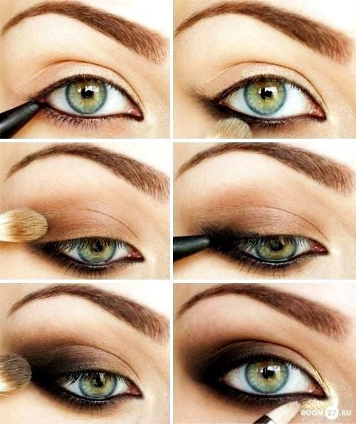 The important thing to remember is to start out with brown eyeliner and then the