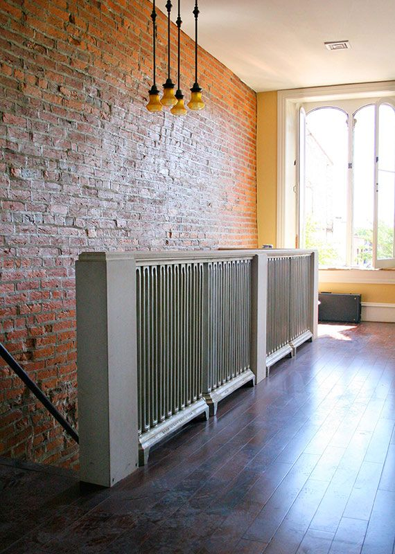 kitchen cabinets lancaster pa home depot shelves old radiators repurposed into a railing.   interior ...