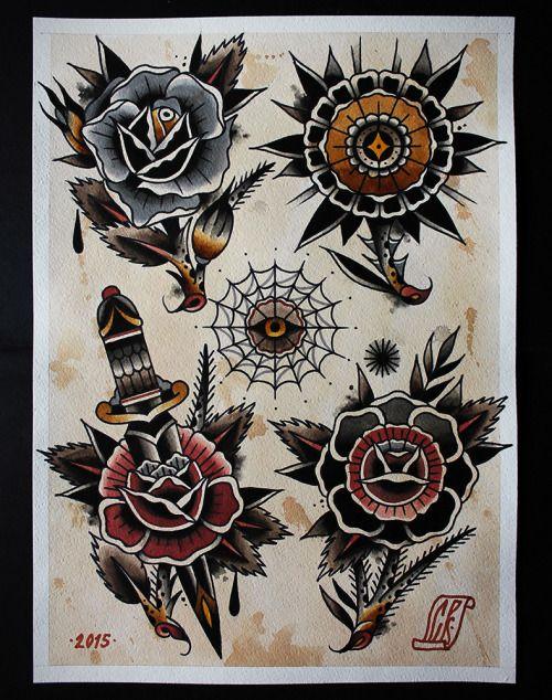 American Traditional Flower Tattoo Flash