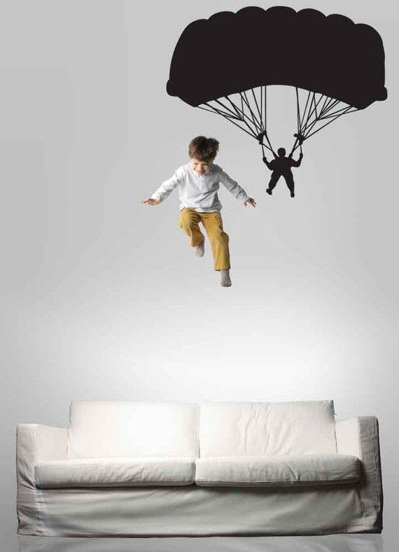 Parachutist Parachute Parachuter Decal Sky Diving Diver Vinyl Sticker Wall Home Office