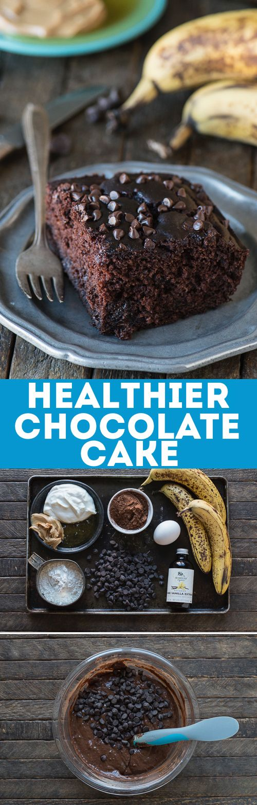 This healthier chocolate cake tastes like a double chocolate chip banana muffin! No sugar, butter or oil b