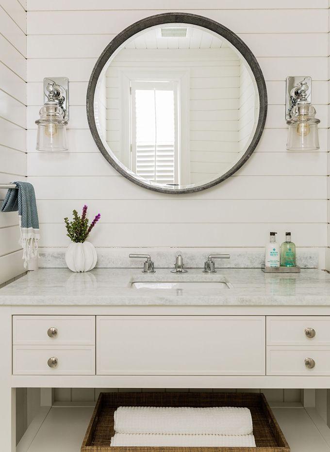 white coastal bathroom with shiplap walls  Jennifer