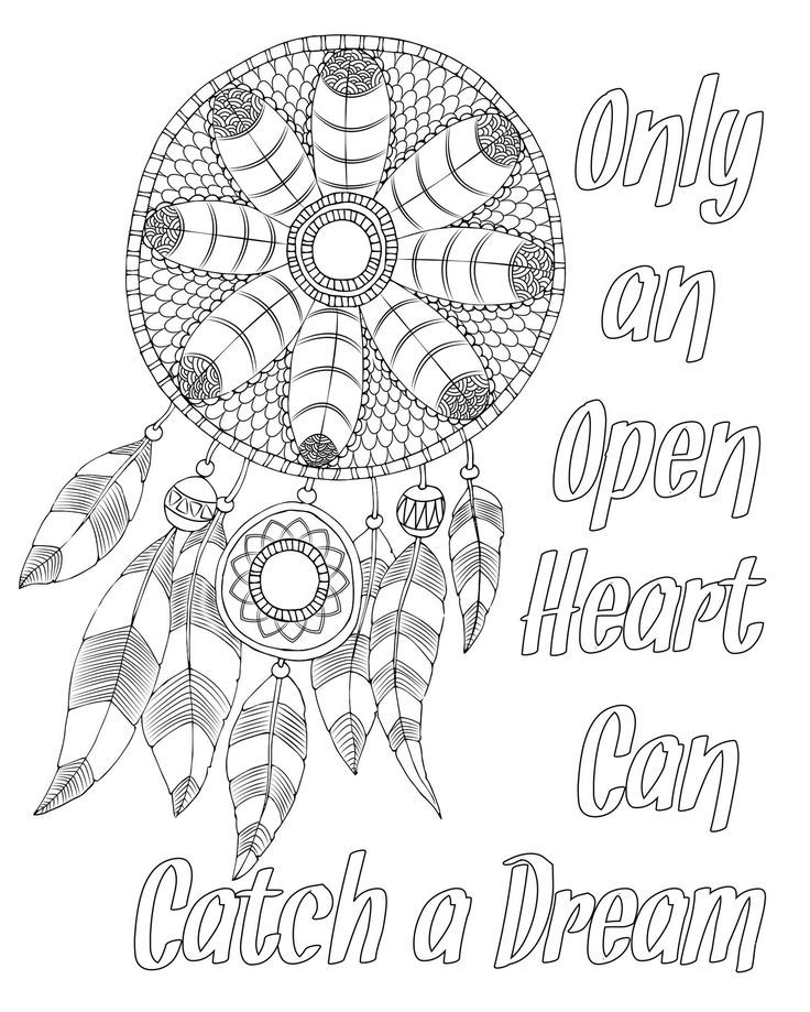 Free adult coloring page. Dream catcher with quote
