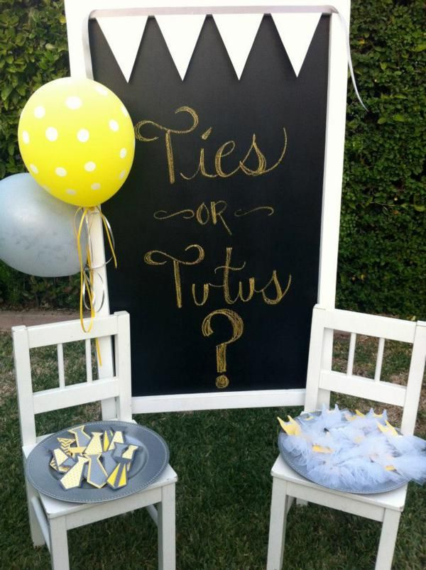 ties or Tutus? Gender Reveal Party. Love the yellow and gray for gender neutral