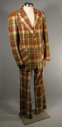Mens cotton plaid seersucker suit c 1975 The Sage Collection Indiana University  Fashion